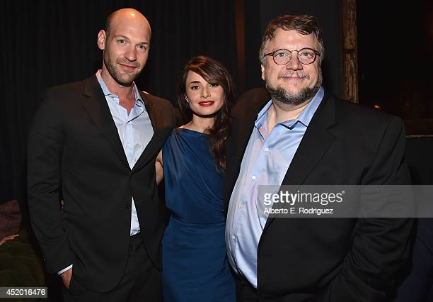 Actors Corey Stoll Mia Maestro and executive producer Guillermo del Toro attend the after party for the premiere of FX's 'The Strain' at the DGA...