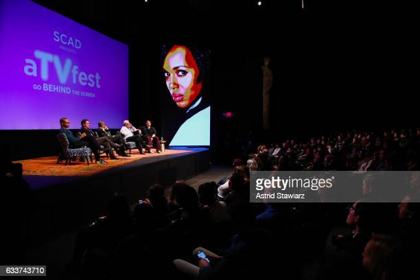 Actors Cornelius Smith Jr Joshua Malina Joe Morton Jeff Perry and Moderator Damian Holbrook speak at a QA for 'Scandal' during Day Two of the aTVfest...