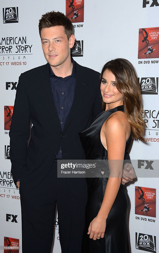 Actors Cory Monteith and actress Lea Michele arrive at the Premiere Screening of FX's 'American Horror Story Asylum' at the Paramount Theatre on...