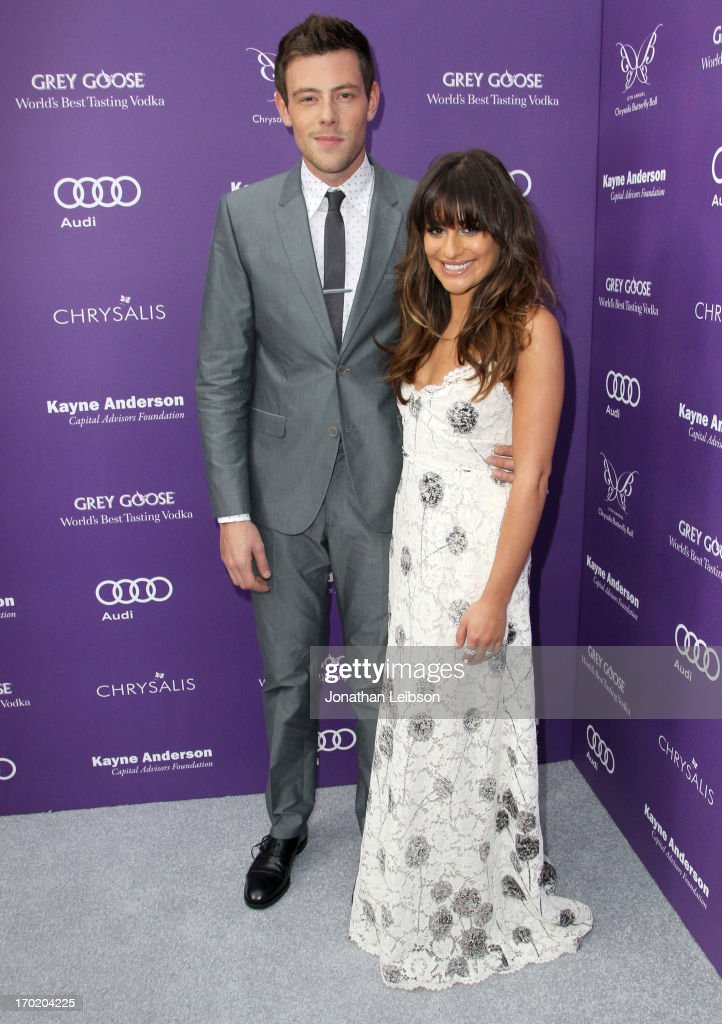 Actors Cory Monteith and Lea Michele arrive at the 12th Annual Chrysalis Butterfly Ball on June 8 2013 in Los Angeles California