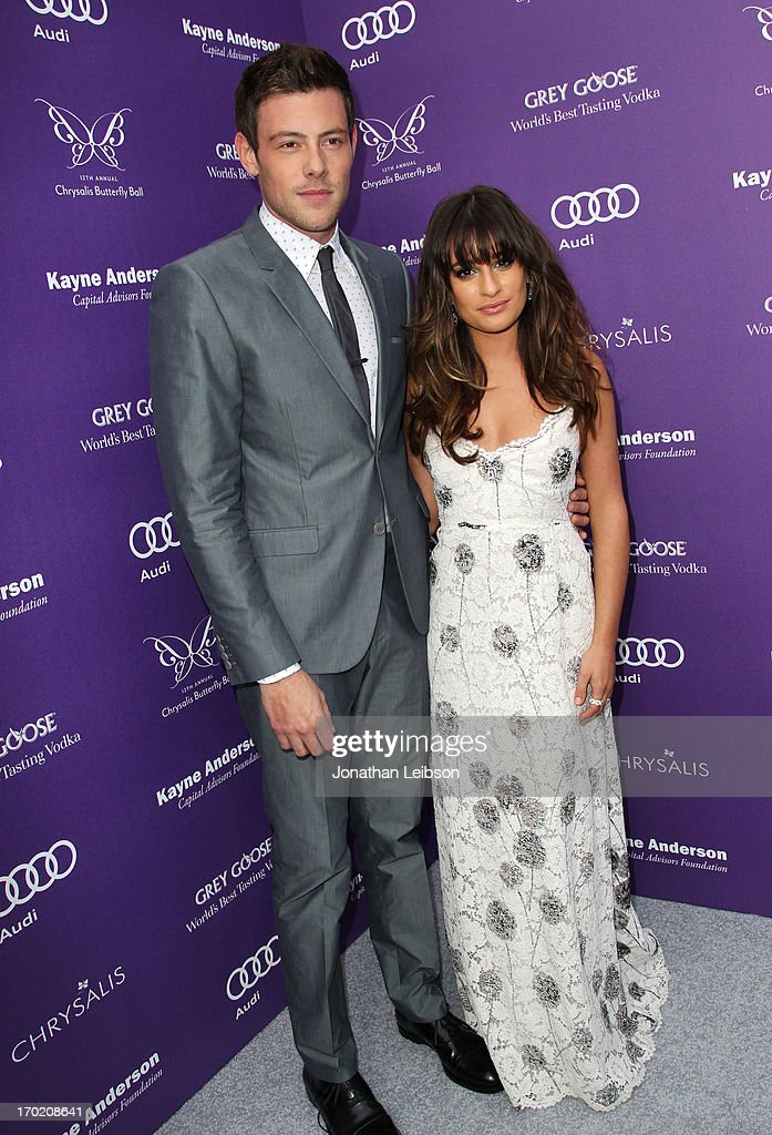 Actors Cory Monteith and Lea Michele arrive at the 12th Annual Chrysalis Butterfly Ball on June 8, 2013 in Los Angeles, California.