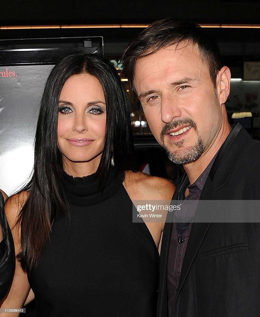 Actors Courteney Cox and David Arquette arrive at the premiere of The Weinstein Company's 'Scream 4' Presented by AXE Shower held at Grauman's...