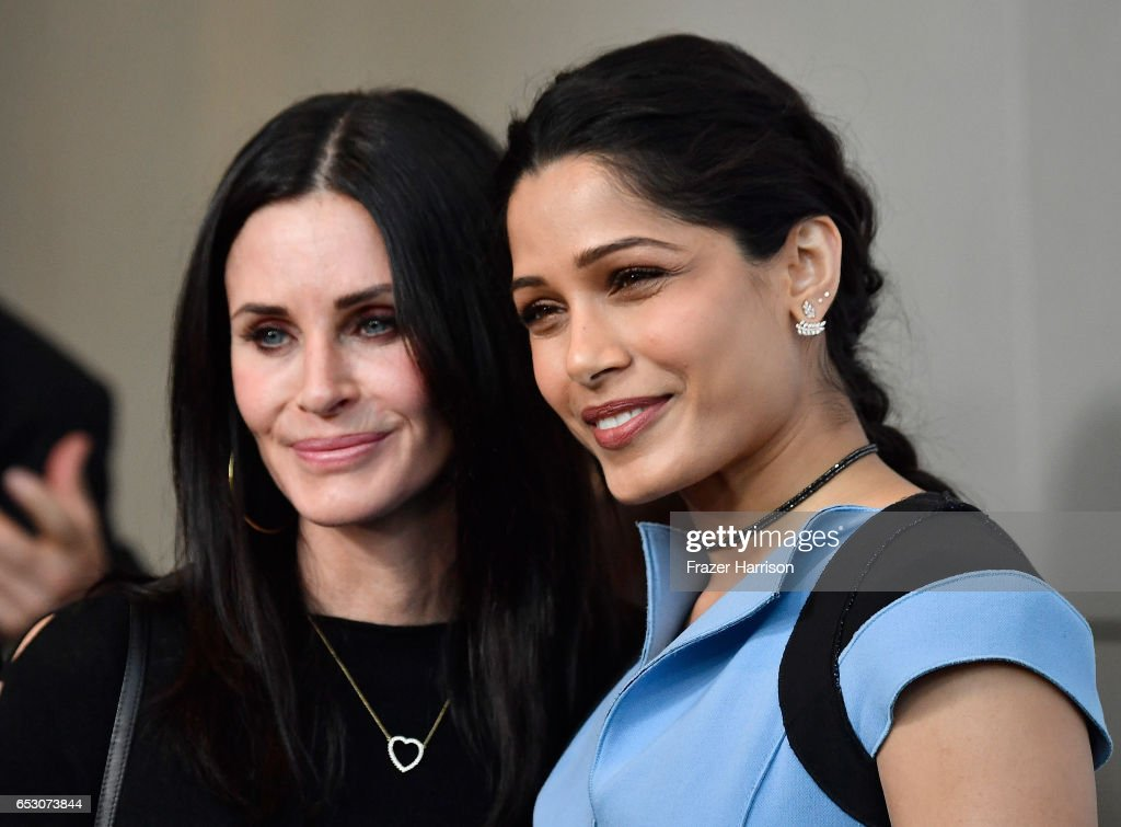 Actors Courteney Cox and Freida Pinto attends UCLA Institute of the Environment and Sustainability celebrates Innovators For A Healthy Planet at a private residence on March 13, 2017 in Beverly Hills,California.