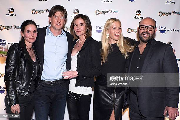 Actors Courteney Cox Josh Hopkins Busy Philipps and Ian Gomez attend the Cougar Town wrap party at RivaBella on January 24 2015 in West Hollywood...