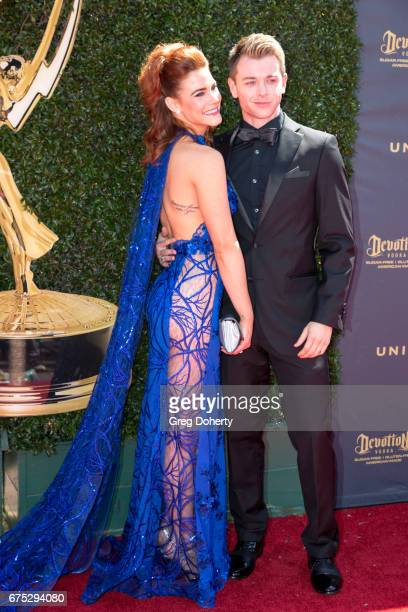 Actors Courtney Hope and Chad Duell arrive at the 44th Annual Daytime Emmy Awards at Pasadena Civic Auditorium on April 30 2017 in Pasadena California