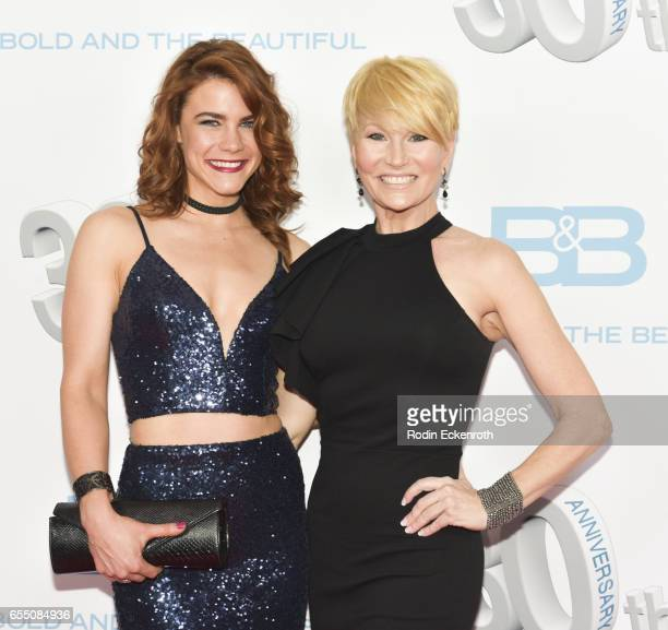 Actors Courtney Hope and Schae Harrison attend CBS's 'The Bold and The Beautiful' 30th Anniversary Party at Clifton's Cafeteria on March 18 2017 in...