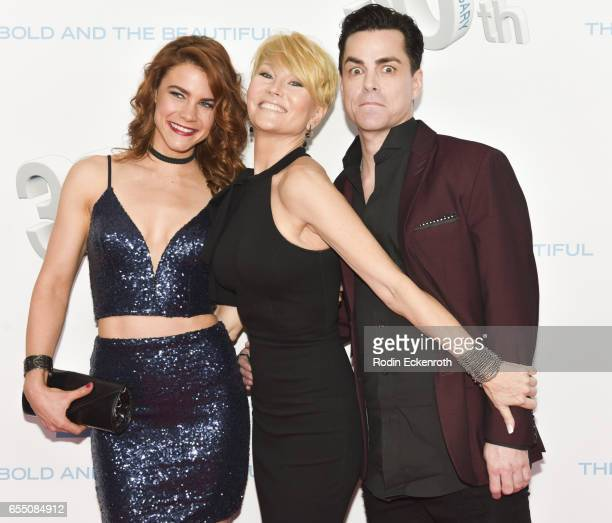 Actors Courtney Hope Schae Harrison and Mick Cain attend CBS's 'The Bold and The Beautiful' 30th Anniversary Party at Clifton's Cafeteria on March 18...