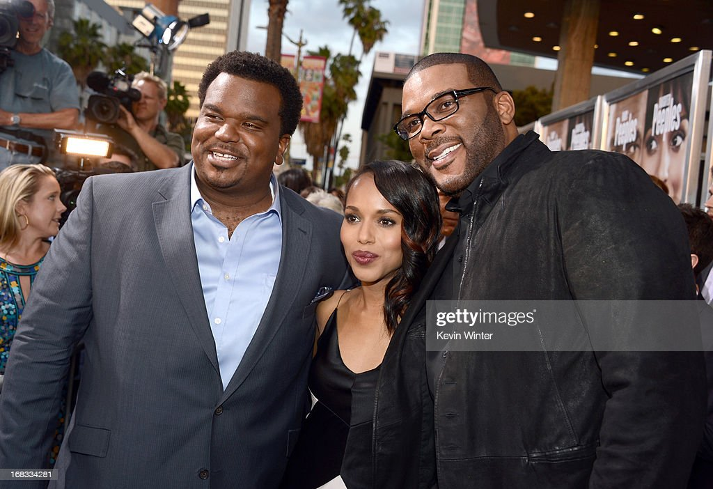 Actors Craig Robinson, <a gi-track='captionPersonalityLinkClicked' href=/galleries/search?phrase=Kerry+Washington&family=editorial&specificpeople=201534 ng-click='$event.stopPropagation()'>Kerry Washington</a>, and Producer <a gi-track='captionPersonalityLinkClicked' href=/galleries/search?phrase=Tyler+Perry&family=editorial&specificpeople=678008 ng-click='$event.stopPropagation()'>Tyler Perry</a> arrive at the premiere of 'Peeples' presented by Lionsgate Film and <a gi-track='captionPersonalityLinkClicked' href=/galleries/search?phrase=Tyler+Perry&family=editorial&specificpeople=678008 ng-click='$event.stopPropagation()'>Tyler Perry</a> at ArcLight Hollywood on May 8, 2013 in Hollywood, California.