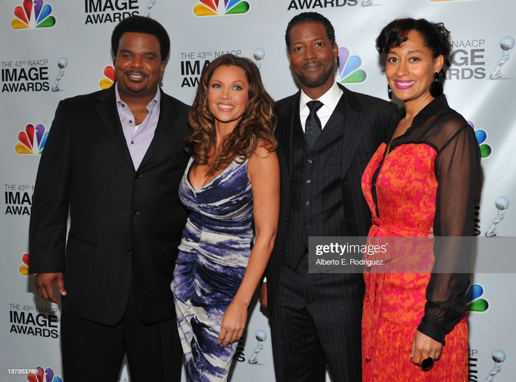 Actors Craig Robinson, Vanessa Williams, Corey Reynolds and <a gi-track='captionPersonalityLinkClicked' href=/galleries/search?phrase=Tracee+Ellis+Ross&family=editorial&specificpeople=211601 ng-click='$event.stopPropagation()'>Tracee Ellis Ross</a> attend the 43rd NAACP Image Awards Nomination announcement and press conference at The Paley Center for Media on January 19, 2012 in Beverly Hills, California.