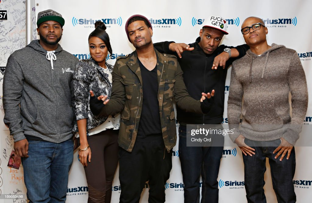 Actors <a gi-track='captionPersonalityLinkClicked' href=/galleries/search?phrase=Craig+Wayans&family=editorial&specificpeople=5843021 ng-click='$event.stopPropagation()'>Craig Wayans</a>, <a gi-track='captionPersonalityLinkClicked' href=/galleries/search?phrase=Tatyana+Ali&family=editorial&specificpeople=847071 ng-click='$event.stopPropagation()'>Tatyana Ali</a>, <a gi-track='captionPersonalityLinkClicked' href=/galleries/search?phrase=Damien+Dante+Wayans&family=editorial&specificpeople=764721 ng-click='$event.stopPropagation()'>Damien Dante Wayans</a> and George O. Gore, II pose with DJ Whoo Kid (2nd Right) at the SiriusXM Studios on January 15, 2013 in New York City.