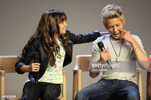 Actors Cree Cicchino and Thomas Kuc speak at the event Meet the Cast 'Nickelodeon's Game Shakers' at the Apple Store Soho on September 10 2015 in New...