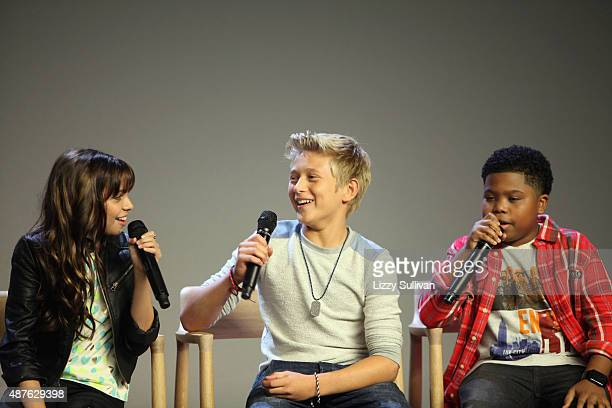 Actors Cree Cicchino Thomas Kuc and Benjamin Flores Jr speak at the event Meet the Cast 'Nickelodeon's Game Shakers' at the Apple Store Soho on...