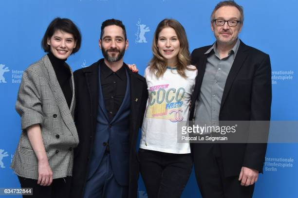 Actors Crina Semciuc Denis Moschitto Nora von Waldstaetten and film director Josef Hader attend the 'Wild Mouse' photo call during the 67th Berlinale...