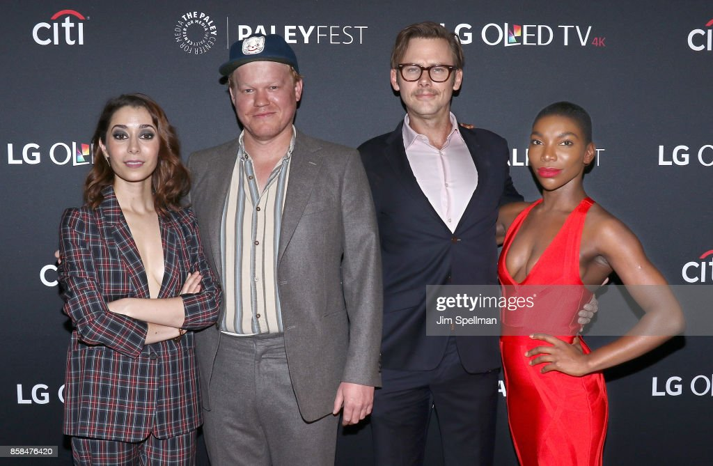 Actors Cristin Milioti, Jesse Plemons, Jimmi Simpson and Michaela Coel attend the PaleyFest NY 2017 'Black Mirror' screening at The Paley Center for Media on October 6, 2017 in New York City.