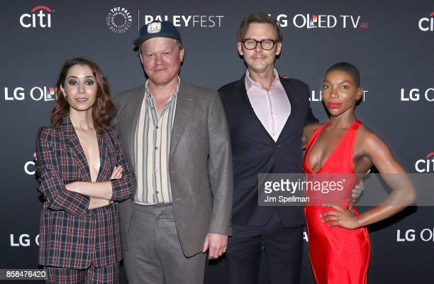 Actors Cristin Milioti Jesse Plemons Jimmi Simpson and Michaela Coel attend the PaleyFest NY 2017 'Black Mirror' screening at The Paley Center for...