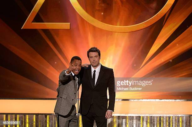 Actors Cuba Gooding Jr and Ben Affleck speak onstage during 20th Annual Screen Actors Guild Awards at The Shrine Auditorium on January 18 2014 in Los...