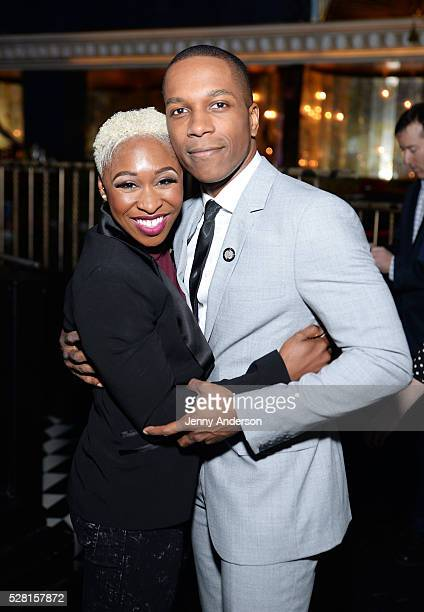 Actors Cynthia Erivo and Leslie Odom Jr attend the 2016 Tony Awards Meet The Nominees Press Reception on May 4 2016 in New York City