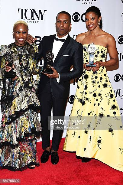 Actors Cynthia Erivo Leslie Odom Jr and Renee Elise Goldsberry pose in the press room at the 70th Annual Tony Awards at The Beacon Theatre on June 12...