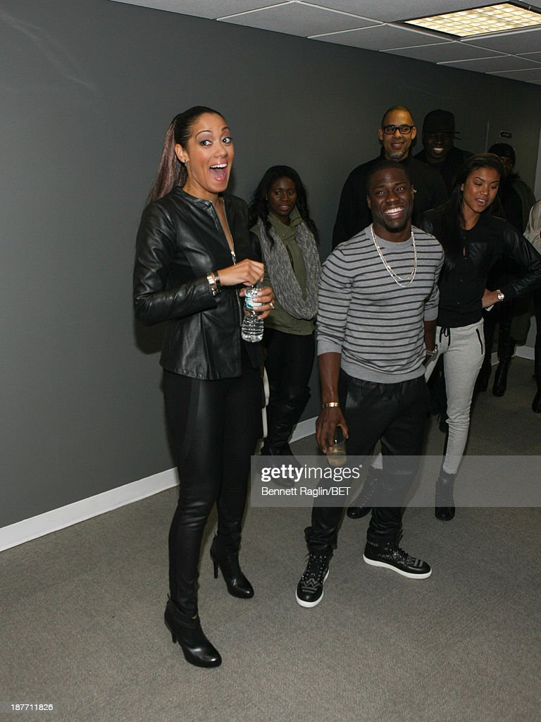 Actors Cynthia Kaye McWilliams and Kevin Hart visit 106 & Park at 106 & Park studio on November 11, 2013 in New York City.