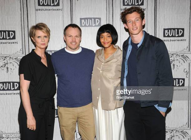 Actors Cynthia Nixon Marc Web Kiersey Clemons and Callum Turner attends Build presents the cast of 'The Only Living Boy In New York' at Build Studio...
