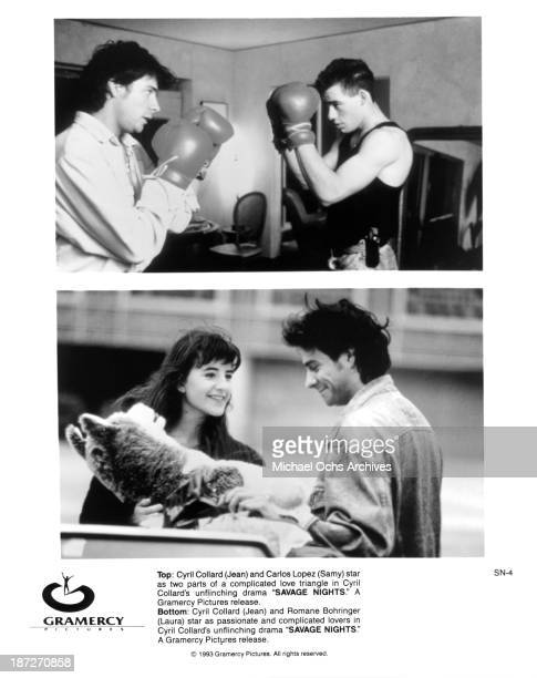 Actors Cyril Collard and Carlos L=pez actress Romane Bohringer and actor Cyril Collard on set of the movie 'Savage Nights' in 1992