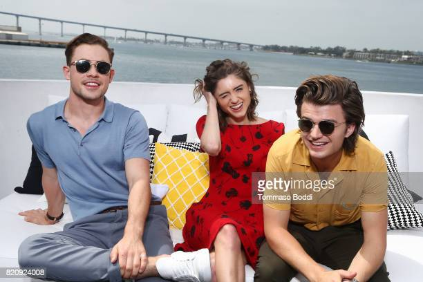 Actors Dacre Montgomery Natalia Dyer and Joe Keery on the #IMDboat at San Diego ComicCon 2017 at The IMDb Yacht on July 22 2017 in San Diego...