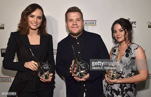 Actors Daisy Ridley James Corden and Sarah Greene attend the Oscar Wilde Awards at Bad Robot on February 25 2016 in Santa Monica California