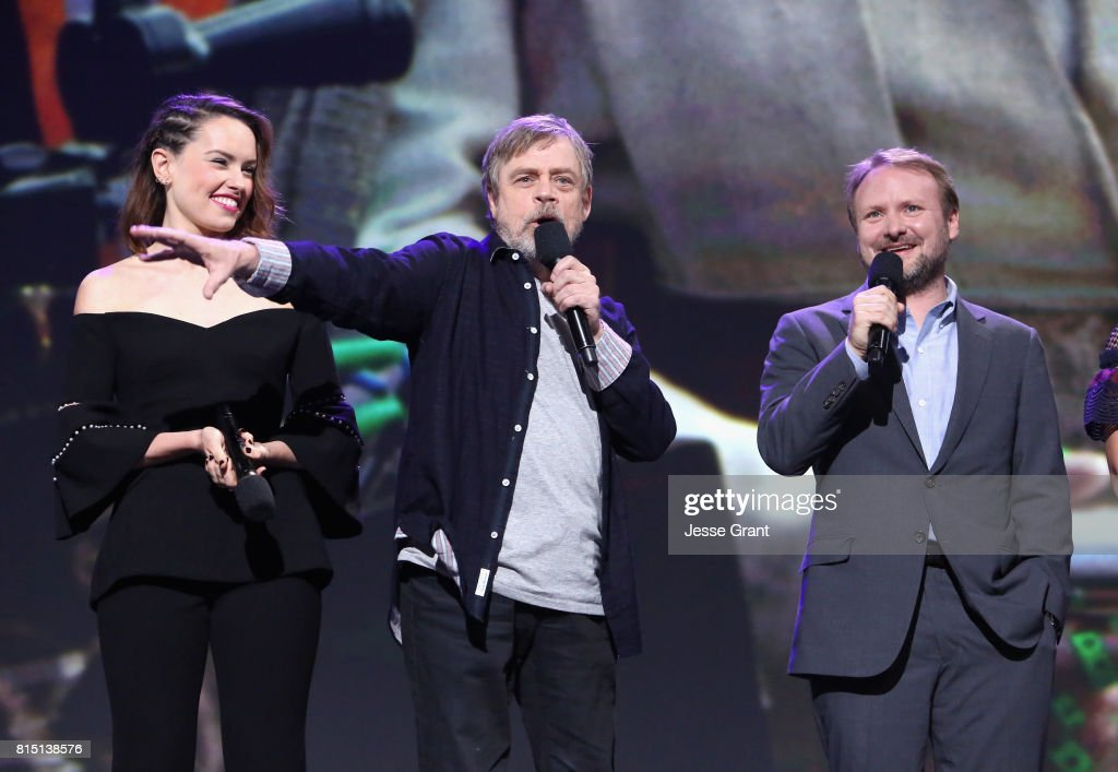 Actors Daisy Ridley, Mark Hamill and director Rian Johnson of