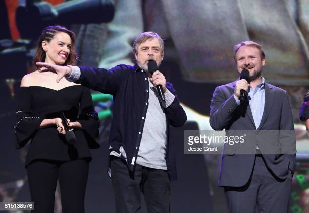 Actors Daisy Ridley Mark Hamill and director Rian Johnson of STAR WARS THE LAST JEDI took part today in the Walt Disney Studios live action...