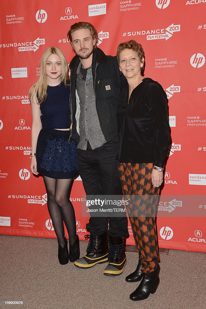 Actors <a gi-track='captionPersonalityLinkClicked' href=/galleries/search?phrase=Dakota+Fanning&family=editorial&specificpeople=203236 ng-click='$event.stopPropagation()'>Dakota Fanning</a> and Boyd Holbrook and director Naomi Foner attend the 'Very Good Girls' premiere at Eccles Center Theatre during the 2013 Sundance Film Festival on January 22, 2013 in Park City, Utah.