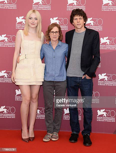 Actors Dakota Fanning Writer/Director Kelly Reichardt and Jesse Eisenberg attend 'Night Moves' Photocall during the 70th Venice International Film...