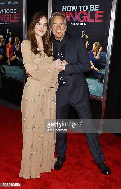 Actors Dakota Johnson and Don Johnson attends the 'How To Be Single' New York premiere at NYU Skirball Center on February 3 2016 in New York City