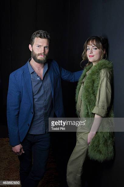 Actors Dakota Johnson and Jamie Dornan are photographed for USA Today on February 7 2015 in New York City