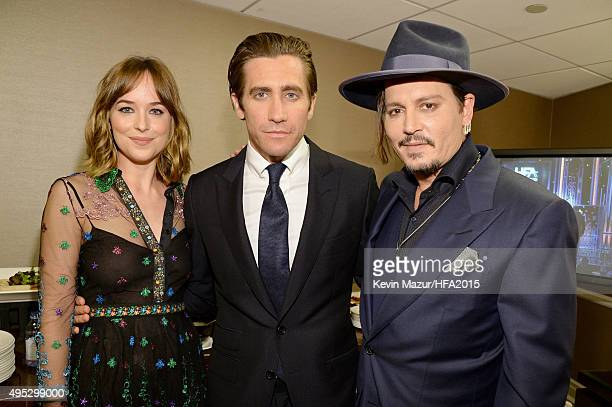 Actors Dakota Johnson Jake Gyllenhaal and Johnny Depp attend the 19th Annual Hollywood Film Awards at The Beverly Hilton Hotel on November 1 2015 in...