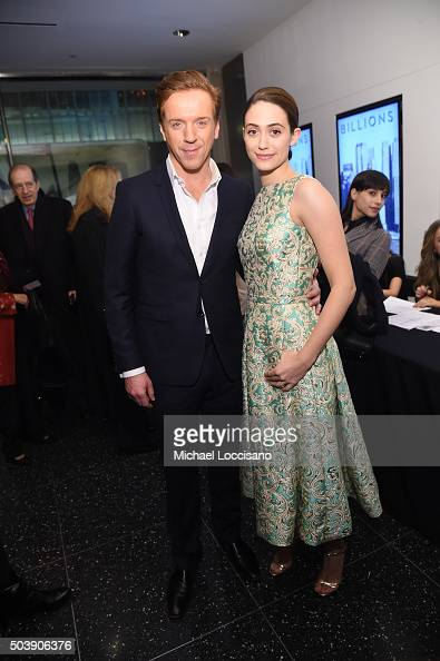 Actors Damian Lewis and Emmy Rossum attend the Showtime series premiere of 'Billions' at The New York Museum Of Modern Art on January 7 2016 in New...