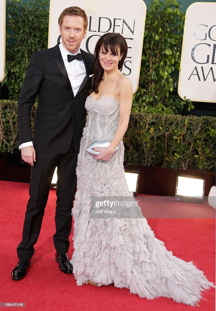 Actors Damian Lewis (L) and Helen McCrory arrive at the 70th Annual Golden Globe Awards held at The Beverly Hilton Hotel on January 13, 2013 in Beverly Hills, California.