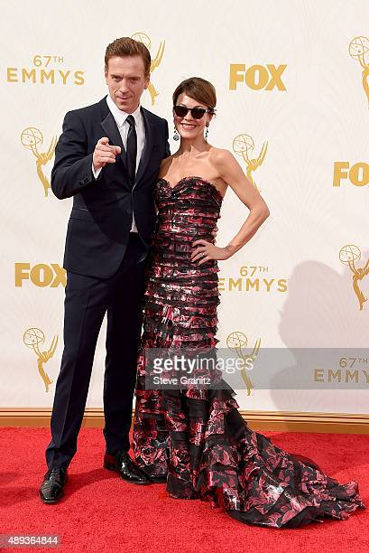 Actors Damian Lewis and Helen McCrory attend the 67th Annual Primetime Emmy Awards at Microsoft Theater on September 20 2015 in Los Angeles California