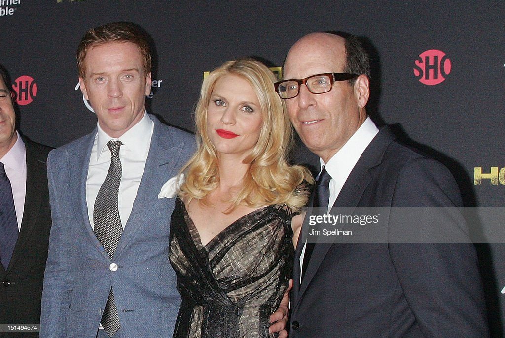 Actors Damian Lewis Claire Danes and Chairman and CEO Showtime Networks Matt Blank attend the Season 2 premiere of 'Homeland' hosted by Time Warner...