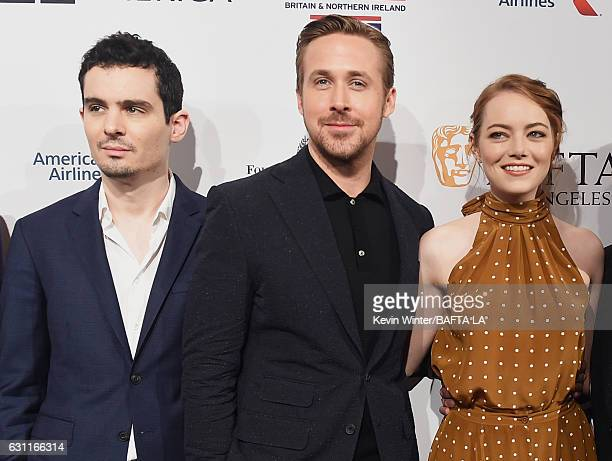 Actors Damien Chazelle Ryan Gosling and Emma Stone attend The BAFTA Tea Party at Four Seasons Hotel Los Angeles at Beverly Hills on January 7 2017 in...
