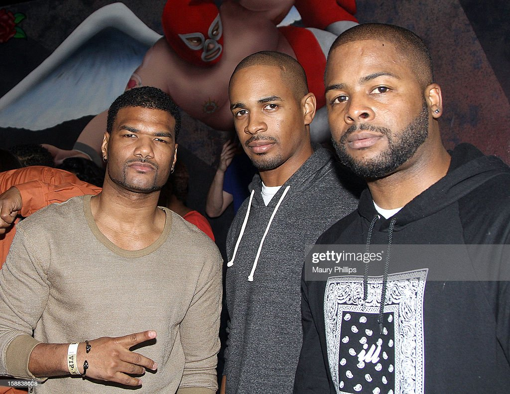 Actors <a gi-track='captionPersonalityLinkClicked' href=/galleries/search?phrase=Damien+Dante+Wayans&family=editorial&specificpeople=764721 ng-click='$event.stopPropagation()'>Damien Dante Wayans</a>, Shawn Wayans Jr. and Craig Wayans attend Real Husbands of Hollywood Kick off Party at The Conga Room at L.A. Live on December 29, 2012 in Los Angeles, California.