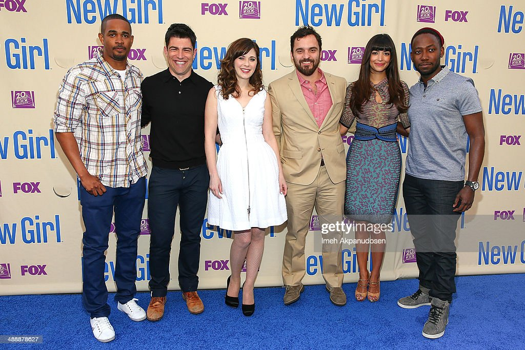 Actors Damon Wayans Jr., Max Greenfield, Zooey Deschanel, Jake Johnson, Hannah Simone, and Lamorne Morris attend the 'New Girl' Season 3 Finale Screening and cast Q&A at Zanuck Theater at 20th Century Fox Lot on May 8, 2014 in Los Angeles, California.
