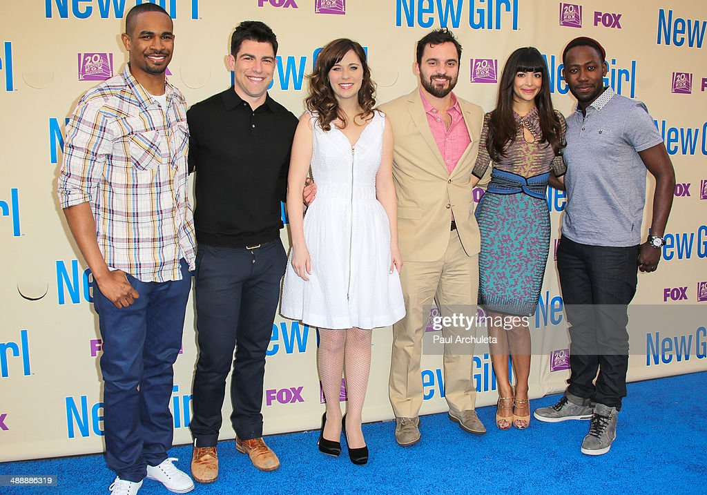 Actors <a gi-track='captionPersonalityLinkClicked' href=/galleries/search?phrase=Damon+Wayans+Jr.&family=editorial&specificpeople=748156 ng-click='$event.stopPropagation()'>Damon Wayans Jr.</a>, <a gi-track='captionPersonalityLinkClicked' href=/galleries/search?phrase=Max+Greenfield&family=editorial&specificpeople=599135 ng-click='$event.stopPropagation()'>Max Greenfield</a>, <a gi-track='captionPersonalityLinkClicked' href=/galleries/search?phrase=Zooey+Deschanel&family=editorial&specificpeople=202927 ng-click='$event.stopPropagation()'>Zooey Deschanel</a>, <a gi-track='captionPersonalityLinkClicked' href=/galleries/search?phrase=Jake+Johnson+-+Actor&family=editorial&specificpeople=11543114 ng-click='$event.stopPropagation()'>Jake Johnson</a>, <a gi-track='captionPersonalityLinkClicked' href=/galleries/search?phrase=Hannah+Simone&family=editorial&specificpeople=3291351 ng-click='$event.stopPropagation()'>Hannah Simone</a> and <a gi-track='captionPersonalityLinkClicked' href=/galleries/search?phrase=Lamorne+Morris&family=editorial&specificpeople=671004 ng-click='$event.stopPropagation()'>Lamorne Morris</a> attend the 'New Girl' season 3 screening and cast Q&A at Zanuck Theater at 20th Century Fox Lot on May 8, 2014 in Los Angeles, California.