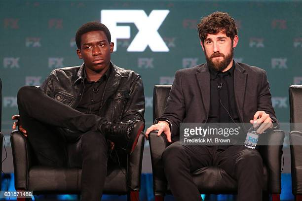 Actors Damson Idris and Carter Hudson of the television show 'Snowfall' speak onstage during the FX portion of the 2017 Winter Television Critics...