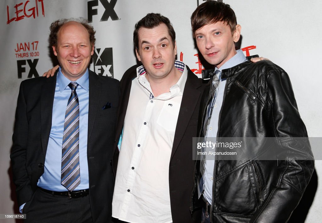 Actors Dan Bakkedahl, Jim Jefferies, and <a gi-track='captionPersonalityLinkClicked' href=/galleries/search?phrase=DJ+Qualls&family=editorial&specificpeople=216352 ng-click='$event.stopPropagation()'>DJ Qualls</a> attend the screening of FX's new comedy series 'Legit' on January 14, 2013 in Los Angeles, California.