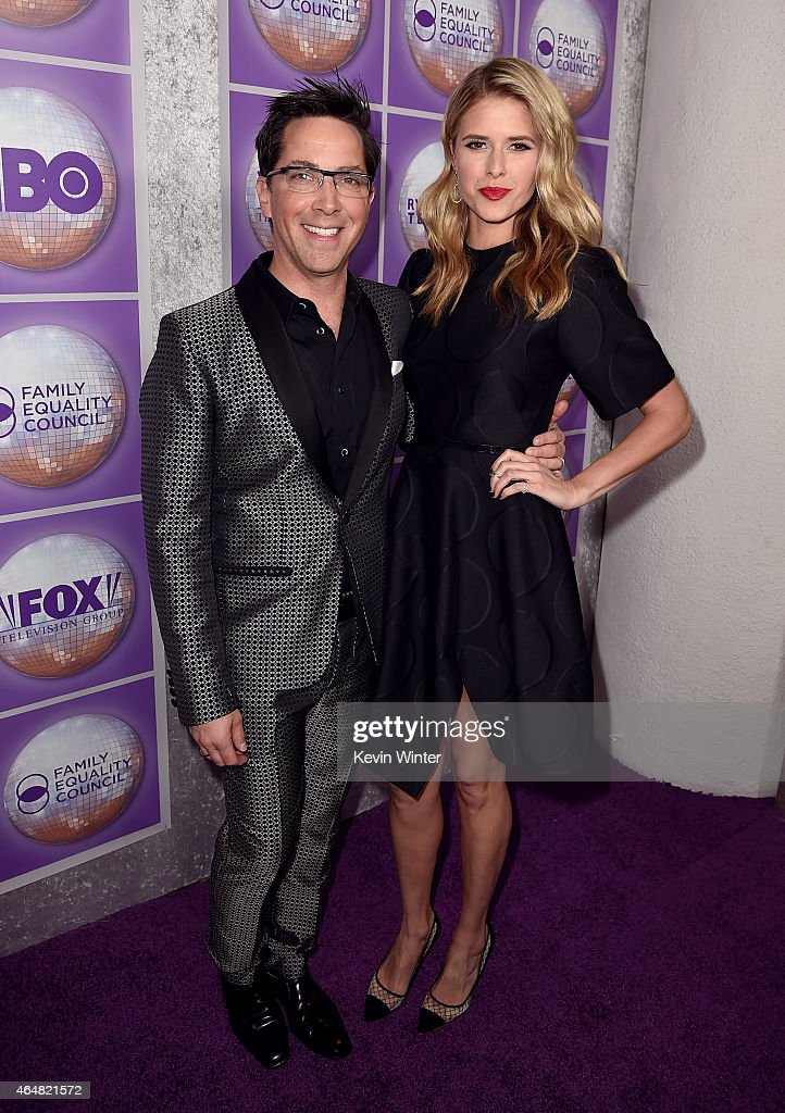 Actors Dan Bucatinsky and Sarah Wright attend the Family Equality Council's 2015 Los Angeles Awards dinner at The Beverly Hilton Hotel on February 28...