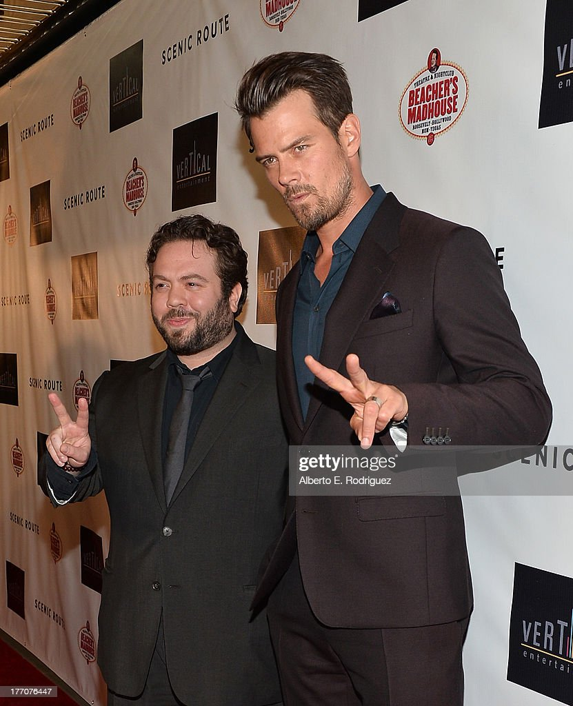 Actors <a gi-track='captionPersonalityLinkClicked' href=/galleries/search?phrase=Dan+Fogler&family=editorial&specificpeople=2236012 ng-click='$event.stopPropagation()'>Dan Fogler</a> (L) and <a gi-track='captionPersonalityLinkClicked' href=/galleries/search?phrase=Josh+Duhamel&family=editorial&specificpeople=208740 ng-click='$event.stopPropagation()'>Josh Duhamel</a> arrive at the premiere of Vertical Entertainment's 'Scenic Route' at Chinese 6 Theater- Hollywood on August 20, 2013 in Hollywood, California.