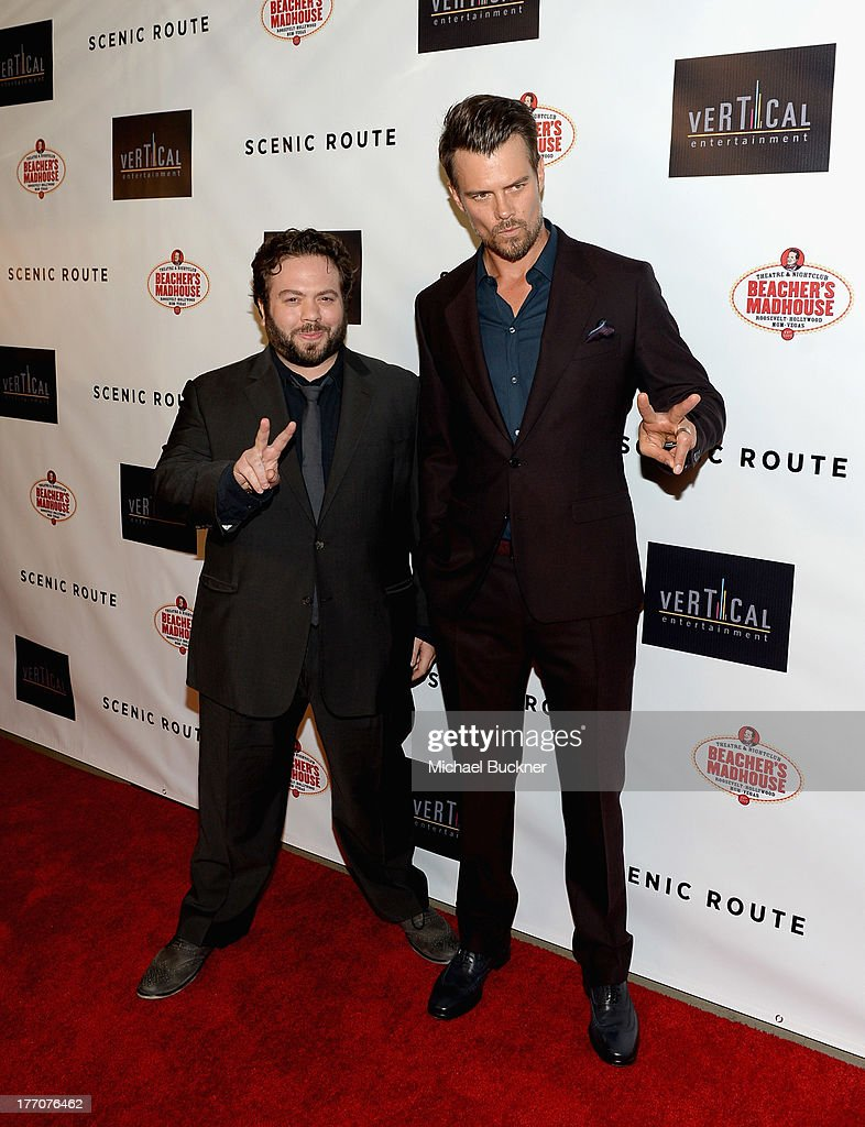 Actors Dan Fogler and Josh Duhamel arrive at the premiere of Vertical Entertainment's 'Scenic Route' at Chinese 6 Theater- Hollywood on August 20, 2013 in Hollywood, California.