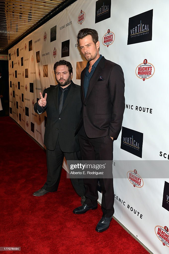 Actors Dan Fogler (L) and Josh Duhamel arrive at the premiere of Vertical Entertainment's 'Scenic Route' at Chinese 6 Theater- Hollywood on August 20, 2013 in Hollywood, California.