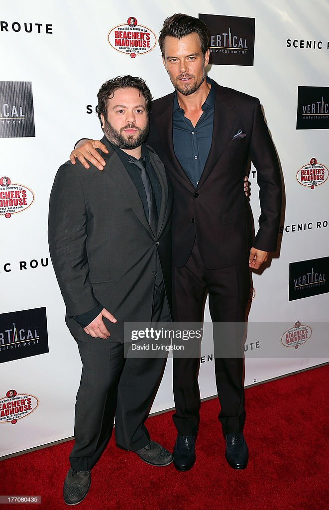 Actors <a gi-track='captionPersonalityLinkClicked' href=/galleries/search?phrase=Dan+Fogler&family=editorial&specificpeople=2236012 ng-click='$event.stopPropagation()'>Dan Fogler</a> (L) and <a gi-track='captionPersonalityLinkClicked' href=/galleries/search?phrase=Josh+Duhamel&family=editorial&specificpeople=208740 ng-click='$event.stopPropagation()'>Josh Duhamel</a> attend the premiere of Vertical Entertainment's 'Scenic Route' at the Chinese 6 Theaters Hollywood on August 20, 2013 in Hollywood, California.