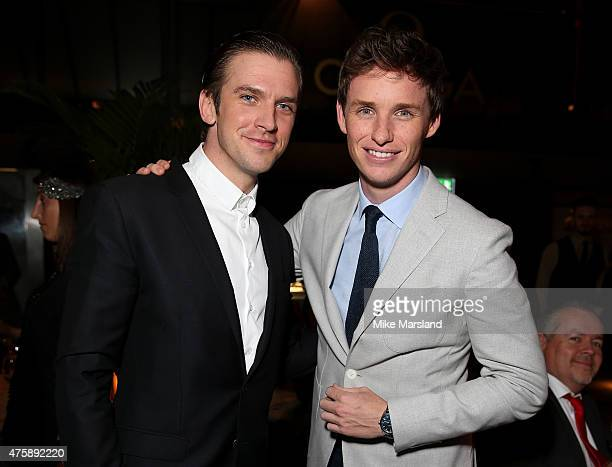 Actors Dan Stevens and Eddie Redmayne attend the OMEGA VIP dinner in honour of new international ambassador Eddie Redmayne at Quaglino's on June 4...